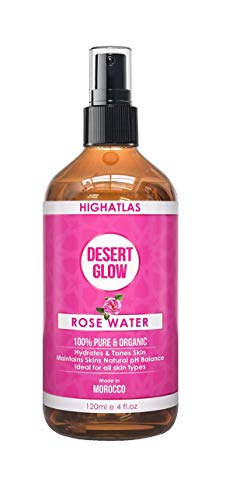 Pure Organic Rose Water by HighAtlas | Facial Toner | 125ml 100% Natural Moroccan Rosa Damascena Water| Alcohol-Free Toner | Natural Makeup Remover | Anti-Aging, Anti-Inflammatory, Soothes Dry Skin …