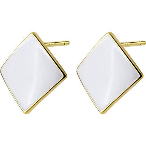 S925 zilveren oorbellen Women'S Japanse en Koreaanse stijl eenvoudige zwarte Epoxy Square oorbellen Trend Geometrische oorbellen, wit, 925 zilver, EEH A Goud