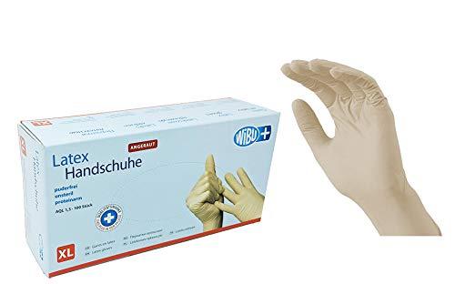 100 Stück Latexhandschuhe rau in Spender-Box – puderfrei, nicht steril – Einweghandschuhe Einmalhandschuhe (XL)