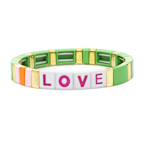 KELITCH 2020 New Enamel Stretch Bracelets Women Love Color Strand Bracelets Friendship Jewelry for Fashion Summer (Green)