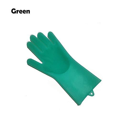 1 Silikonhandschuhe zum Reinigen der Schüssel und Reinigungsbürste Küchenhandschuhe zum Reinigen des Zimmers Geschirrspülhandschuhe - Grün Links, a2