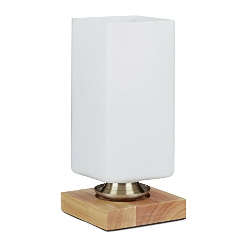 Relaxdays Tafellamp, tafellamp melkglas, verschillende vormen, houten sokkel, wit