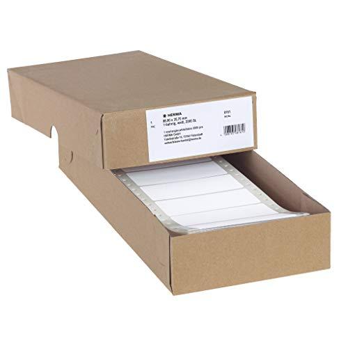 HERMA 8161 Computeretiketten, endlos (88,9 x 35,7 mm, Papier, matt, 1-bahnig) selbstklebend, permanent haftende Endlosetiketten, 2.000 Etiketten, weiß