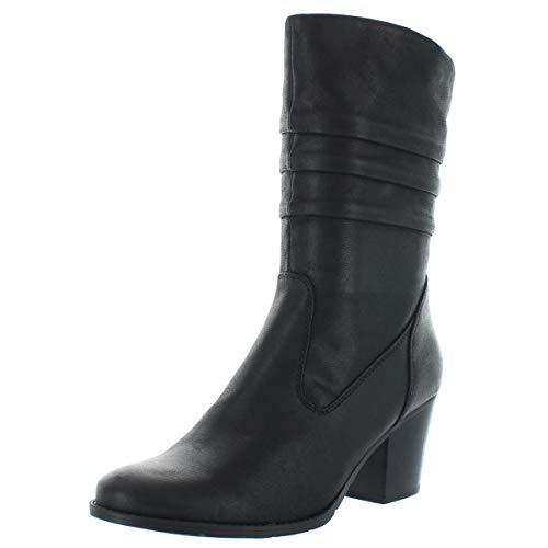 BareTraps Womens Lovelace Leather Round Toe Mid-Calf Fashion Black