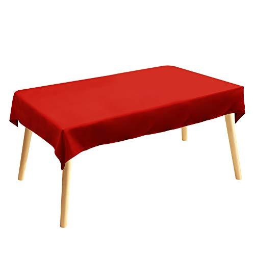 Tischdecke, Rechteckige Tischtuch, 120 × 200cm, Rot, 100% Polyesterfaser, Einfarbig, Pflegeleicht Waschbar
