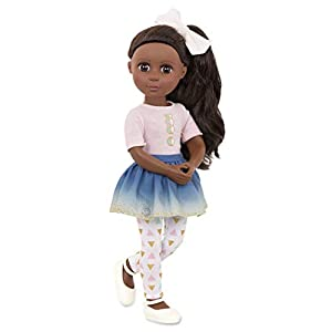 Keltie - 36cm (36.8cm) collectible doll NEW! Poseable Dolls! Arms bend at elbows and rotate at shoulders. Legs bend at knees and rotate at hips. Wavy, silky brown nylon hair is fun to brush and style! Dark brown eyes with long eyelashes. Wears a pink...