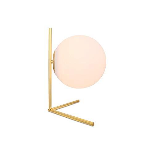 DKEE Post-Moderna Decoración del Dormitorio Creativa Personalidad Cálida Ronda Lámpara De Mesa De Cristal De La Manera Simple Aprendizaje Lámpara De Noche 36 * 35cm Lámpara de Mesa