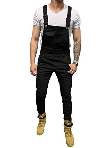 BOLAWOO-77 Hombres Denim Peto Flaco Fit Jeans Largo Retro Denim Mode Básicos Guardapolvos Destruidos Apoyos Pantalones De Deporte Ropa De Moda