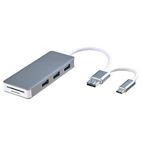 LTLJX Concentrador USB con USB 3.0 / Tipo C/Micro a 3 USB, SD, Lector de Tarjetas TF, Adaptador multipuerto para teléfono, Disco u Disco, Impresora, Disco Duro, Mouse, Equipo de Juegos,Gris