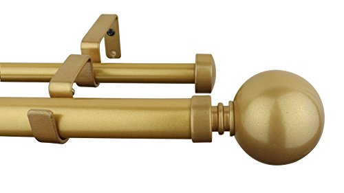MERIVILLE 1-Inch Diameter Ball Telescoping Double Window Treatment Curtain Rod, 84-Inch to 120-Inch, Gold