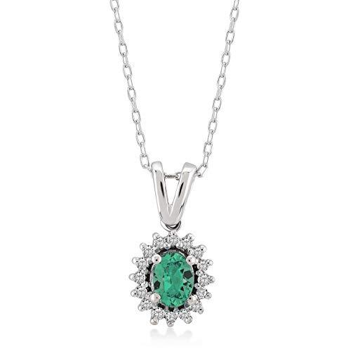 Gelin Damesketting van 14 karaat - 585 echt witgoud hanger met 0,04 ct diamant - ketting 45 cm (smaragd)
