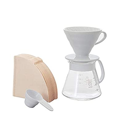 Hario V60 Pour Over Set with Ceramic Dripper, Glass Server, Scoop and Filters, Size 02, White