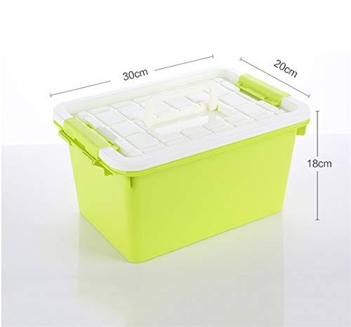 SZQ-Opbergdozen Portable Storage Top Box, met gesp Storage Box Stackable Storage Container Toy Books Storage Box Zolder onder het Bed Box Opbergmand (Color : Green, Size : 30 * 20 * 18 cm)