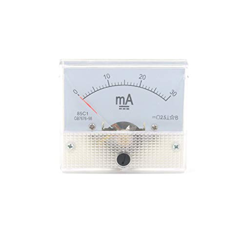Karcy DC 0-30mA Rectangle Analog Panel Ammeter for Auto Circuit or Other Voltage Measurement Devices Ampere Tester Gauge Pack of 1