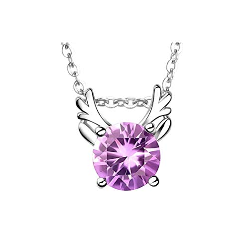 ZNXHNDSH HND Necklace natural amethyst colored gemstone s925 silver pendant clavicle chain fashion accessory birthday (Color : Purple)