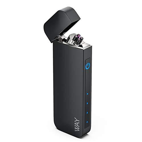 VVAY Elektro Feuerzeug Lichtbogen USB Aufladbar, Flammenlos E-Feuerzeug mit Batterieanzeige