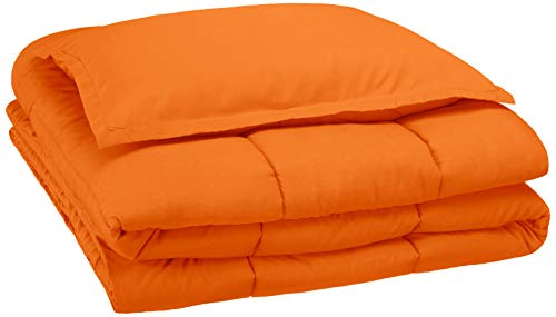 Amazon Basics Easy-Wash Microfiber Kid's Comforter and Pillow Sham Set - Twin, Bright Orange