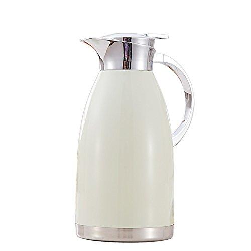 QFFL Ménage de couleur en acier inoxydable pot d'isolation/presse Creative eau chaude bouteille/théière de grande capacité 2L (4 couleurs disponibles) thermos (Couleur : Blanc)