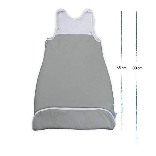VABY – Baby Schlafsack, OEKO-TEX ®, aus Baumwolle und Bambus, Ganzjahres Schlafsack, Babyschlafsack verstellbar, für Neugeborene bis zu max. 2 Jahren, mitwachsend, Junge und Mädchen, 2.5 TOG (Grau) - 3