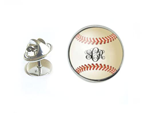 Baseball Silver Tie Tack, Glass Sports Ball Tie Pin
