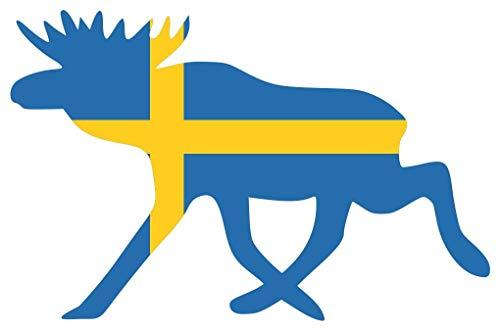 Samunshi® Elch Aufkleber Elchhirsche Schweden Flagge Nationalfarben in 8 Größen (10x6,5cm Color_Title)