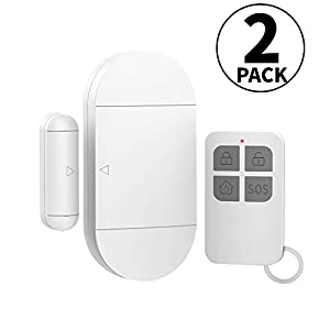 Shackcom Door Window Alarm with Remote Control 2 Pack, 130DB Magnetic Burglar Alert Sensor with Battery, 3 Alarm Sounds/Wireless/Low Power Warning Anti-thief Loud Alarms for Your Home Security System
