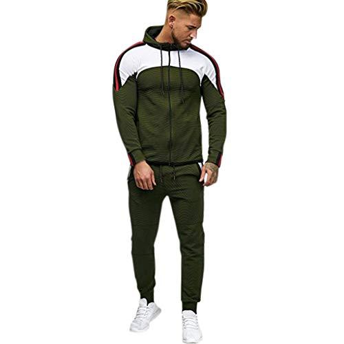 Conjunto de chándal para hombre, con bolsillos, sudadera con capucha, pantalones de deporte, color verde