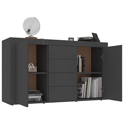 Ausla Credenza moderna con 2 ante e 4 cassetti, 120 x 36 x 69 cm, mobile credenza per corridoio,...