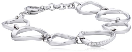 Fossil Damen-Armband Edelstahl Glas weiß 20 cm - JF01145040