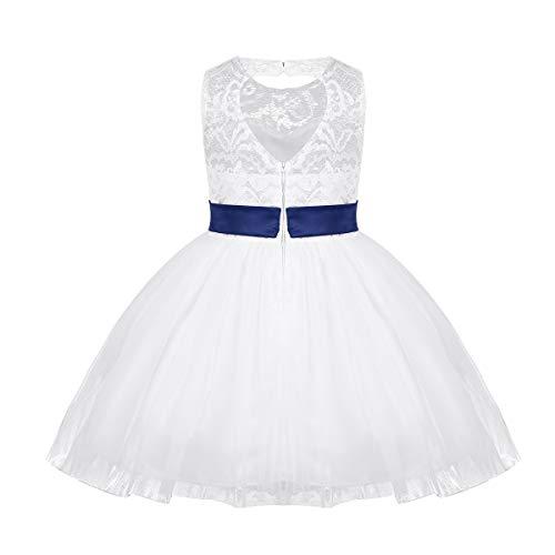 iixpin Baby-Mädchen Prinzessin Kleid Taufkleidung Blumenmädchenkleid Kinder Spitze Kleid Blumen Tüll Kleid Herz-Rücken-Frei Kleider für Party, Hochzeit Gr.92-164 Navy Blau 80-86