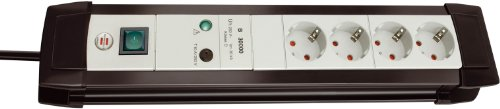 Brennenstuhl Premium-Line, Steckdosenleiste 4-fach mit Überspannungsschutz bis zu 30.000 A (1,8m Kabel und mit Schalter, Made in Germany) schwarz/grau