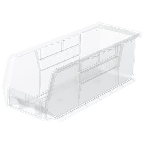 AkroBins Plastic Storage Bin Hanging Stacking Containers, (11-Inch x 4-Inch x 4-Inch), Clear, (12-Pack)