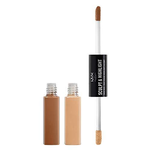 NYX Professional Makeup Highlighter Gesicht - Contouring und Highlighting, Pflege mit Vitamin E, Kokosöl und Aloe Vera, Face Duo Almond Light 02