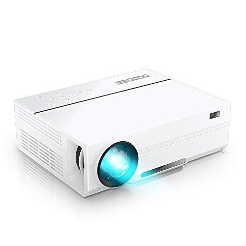 GooDee プロジェクター 1920*1080リアル解像度 5500ルーメン 台形補正 ネイティブ 1080PフルHD パソコン/スマホ/タブレット/ゲーム機接続可能 USB*2/HDMI*2/AV/VGA対応 スピーカー2つ内臓 ホーム/ビジネスプロジェクター 日本語取扱書