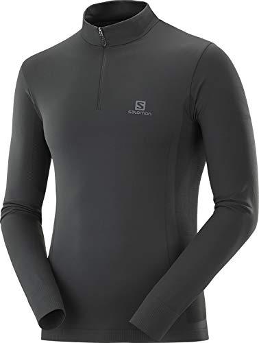 Salomon T-shirt manches longues avec 1/2 zip homme, EXPLORE SEAMLESS HZ M, Polyamide/Polyester, Noir, Taille M, LC1438300