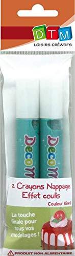 GRAINE CREATIVE 622203 Lot de 2 Crayons Nappage Effet Coulis, Peinture, Vert, 5 x 1,5 x 18 cm
