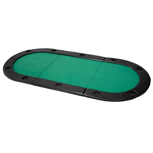 "Giantex 10 Player 79""x36"" Portable Tri-Fold Poker Table Top Oval Padded Folding with Carrying Case (Green/Black)"