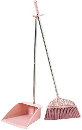 kyman Dustpan Broom y Dustepan Set Barrido doméstico Barrido Limpio Bodillo Suave Bucket Combinación de Cubo para Cubiertos para Exteriores (Color: Azul) (Color : Pink)