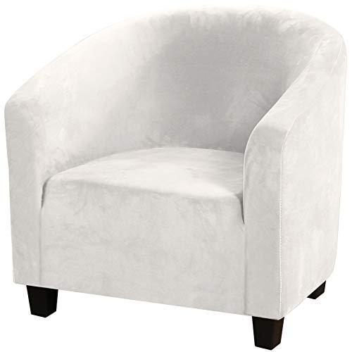 YRRA Moderno Sencillez Sillon Fundas, Terciopelo Fundas para Sillas Estiramiento Elástico Funda de sillón Mueble Protector Suave Fundas de sofá, para Club Chair Lounge Chair,Blanco