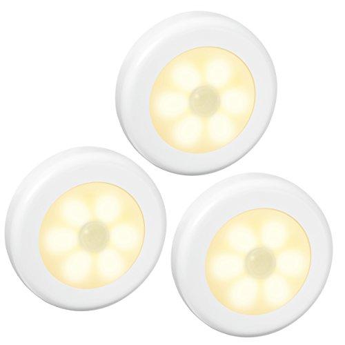 ORIA Bewegungsmelder Licht, LED Nachtlicht mit Bewegungsmelder Schrankleuchten, Auto ON/Off Licht, Batteriebetrieben Treppen, Schrank Licht, Bewegungsmelder Innen für Flur, Wandschrank - Warmweiß