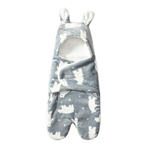 XIANGBEI Manta con capucha para recién nacidos, forro polar de coral blando, saco de dormir para bebé, antipatadas, noches seguras, dulce saco de dormir para bebés