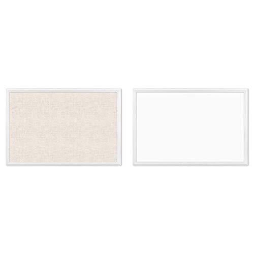 U Brands Cork Linen Bulletin Board, 20 x 30 Inches, White Wood Frame (2074U00-01) & Magnetic Dry Erase Board, 20 x 30 Inches, White Wood Frame (2071U00-01)
