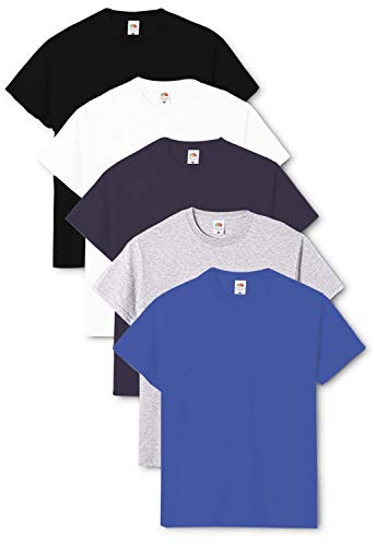 Fruit of the Loom Original - Camiseta de hombre cuello redondo (pack de 5) Negro/Blanco/Azul Marino/Gris jaspeado/Azul Real. L