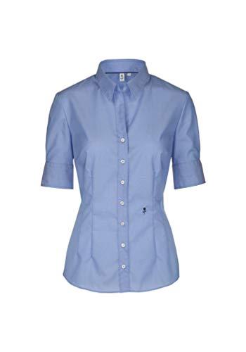 Seidensticker Damen Bügelfreie, Schmal Taillierte Hemdbluse-Slim Fit-Hemdbluse-Kurzarm-100% Baumwolle Bluse, Hellblau, 34