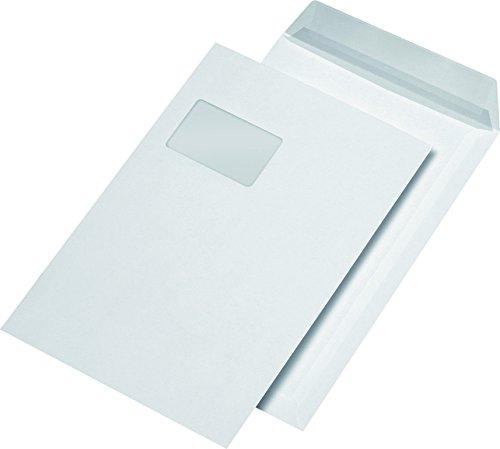 SECURITEX 385510 Versandtasche, C4, weiß mit Fenster, 130 g/qm