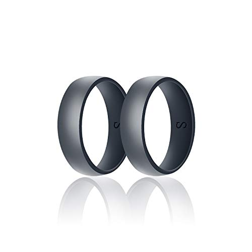 SANXIULY Mens Silicone Wedding Ring&Durable Rubber Wedding Bands Safe and Weight Lifting for Workout and Active Athletes Width 8mm Pack of 2 Color Dark Grey Size 9