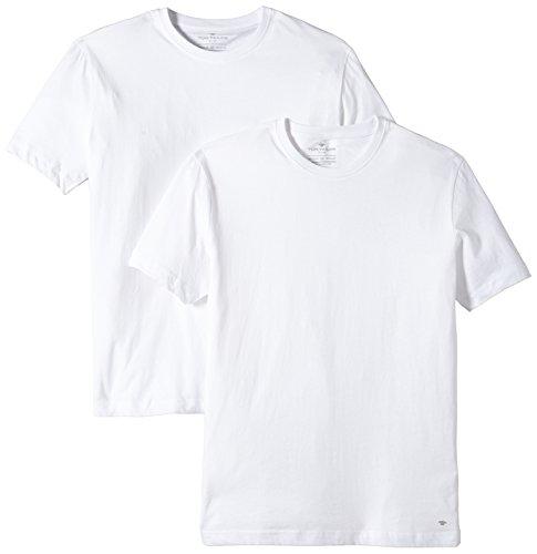 TOM TAILOR Herren Doppelpack Crew Neck T Shirt, Weiß, L