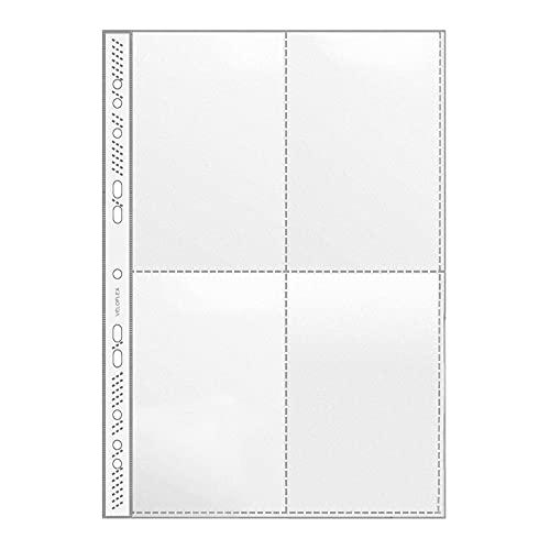 Veloflex 5336000 - Sammelhülle A4, Fotohülle, passend für 4 x A6 hoch, 4-Fächer, PP, dokumentenecht, 100 Stück