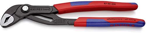Knipex Cobra - Hochleistungs-Wasserpumpenzange mit Schnelleinstellung und schlanken Mehrkomponenten-Griffhüllen, 250 mm, Rohre bis 50 mm