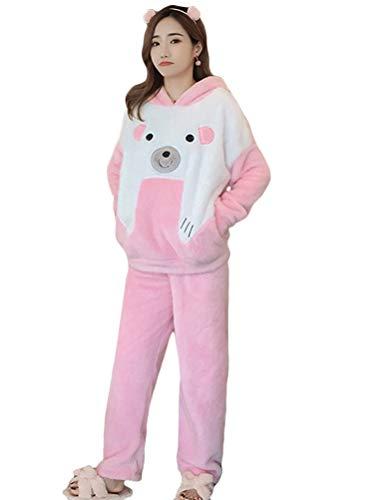 Minetom Damen Pyjama Eule Motiv Schlafanzug Set Flanell Zweiteiliger Langarm Nachtwäsche Winter grau C Rosa 36